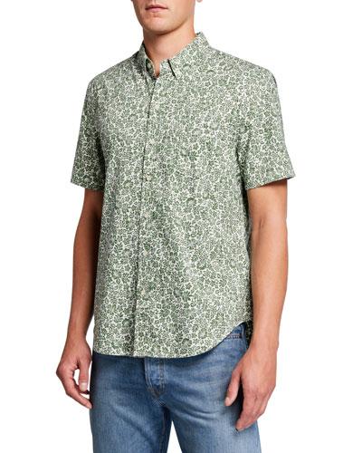 Men's Moorea Garden-Pattern Tailored Short-Sleeve Sport Shirt