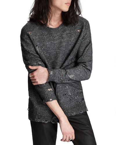 Men's Easy-Fit Distressed Wool-Blend Sweater
