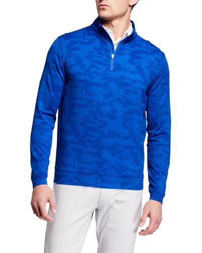 Men's Perth Camo-Jacquard Quarter-Zip Sweater