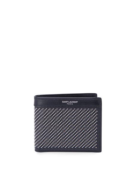 Saint Laurent Men's Micro-Stud Leather Wallet