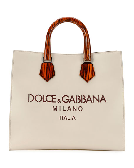 Dolce & Gabbana Men's Summer Luxury Wooden-Handle Leather Tote Bag