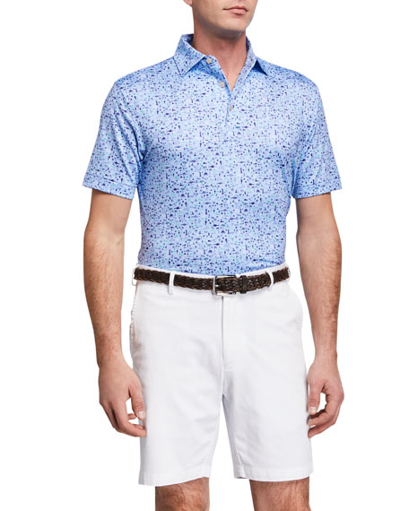 Peter Millar Men's Sean Printed Beach Stretch Jersey Polo Shirt