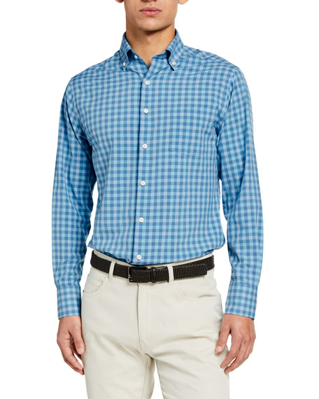 Peter Millar Men's Check Sport Shirt w/ Pocket