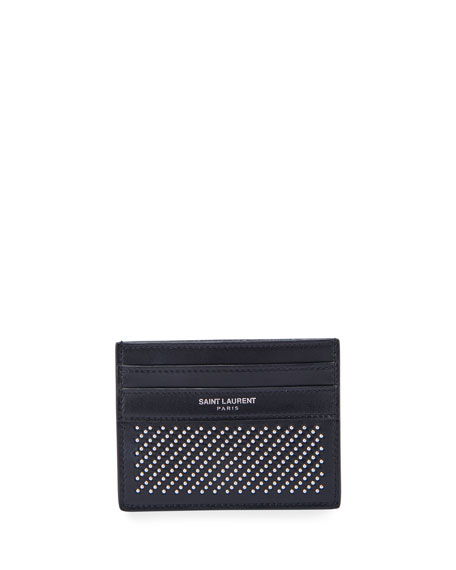 Saint Laurent Men's Micro-Stud Leather Card Case