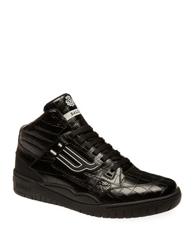 Men's King Croc-Embossed Leather High-Top Sneakers
