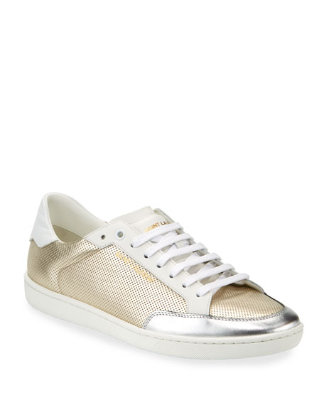 Saint Laurent Men's Perforated Metallic Leather Low-Top Sneakers