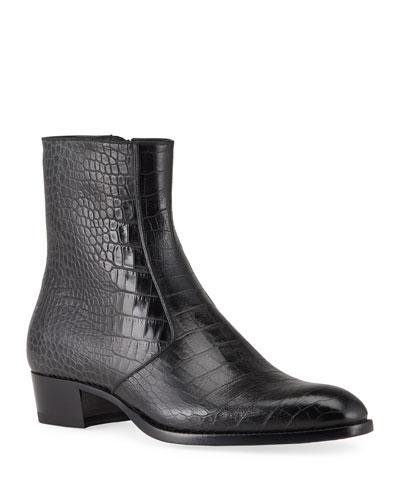 Men's Wyatt Croc-Embossed Leather Side-Zip Boots