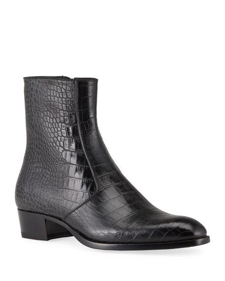 Saint Laurent Men's Wyatt Croc-Embossed Leather Side-Zip Boots