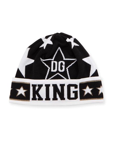Dolce & Gabbana Men's DG King Star Intarsia Beanie Hat