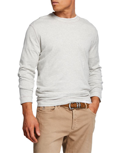 Men's Contrast-Stitched Long-Sleeve T-Shirt