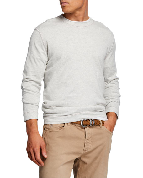 Brunello Cucinelli Men's Contrast-Stitched Long-Sleeve T-Shirt