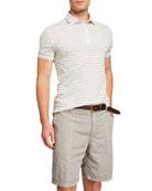 Brunello Cucinelli Men's Striped Jersey Polo Shirt