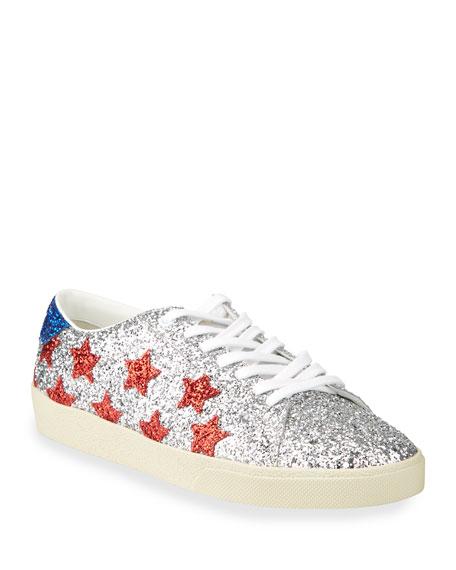 Saint Laurent Men's Court Allover Glitter Low-Top Sneakers