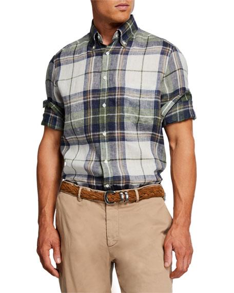 Brunello Cucinelli Men's Madras Plaid Linen Sport Shirt