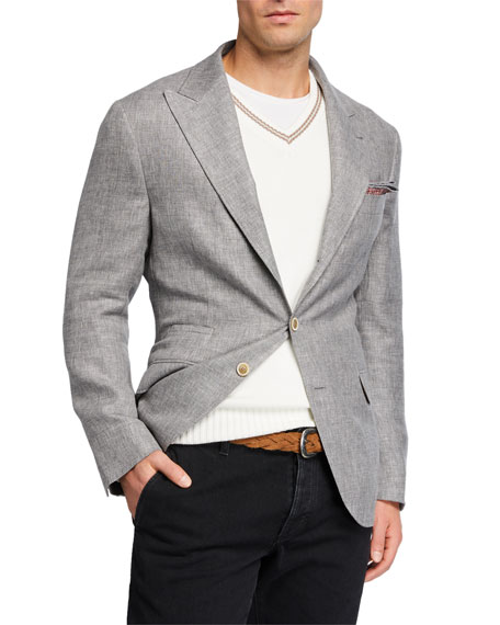 Brunello Cucinelli Men's Peak-Lapel Linen-Blend Hopsack Sport Jacket