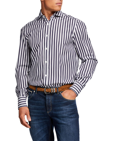 Brunello Cucinelli Men's Wide Bengal Stripe Sport Shirt