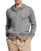 Brunello Cucinelli Men's Cashmere Full-Zip Hoodie Sweater