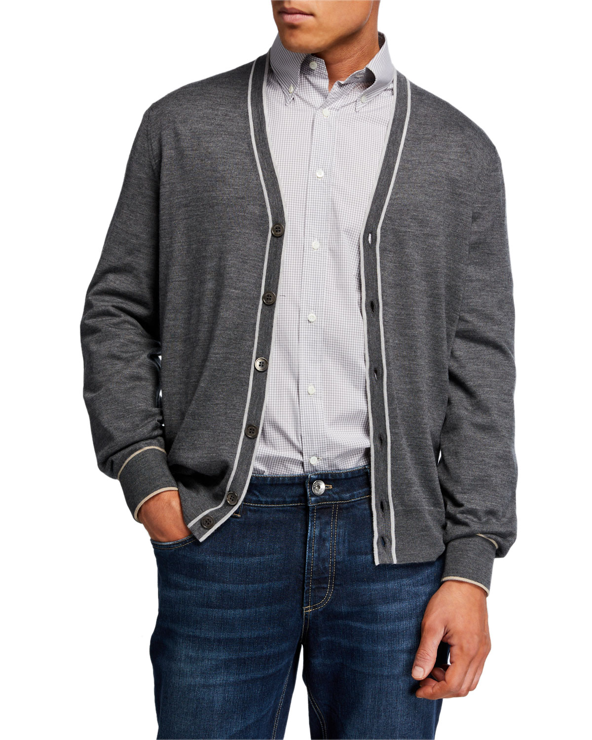 Brunello Cucinelli  MEN'S CONTRAST-TIPPING WOOL CARDIGAN
