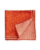 Edward Armah Men's Reversible Solid/Houndstooth Pocket Square