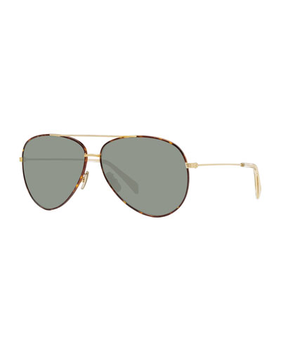 Men's Metal Havana Aviator Sunglasses