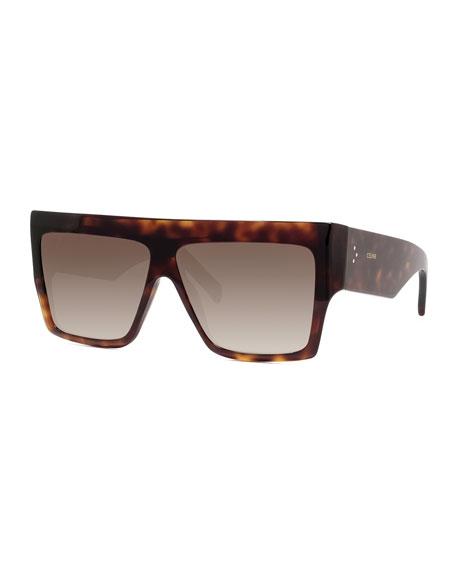 Celine Men's Chunky Rectangle Gradient Havana Sunglasses