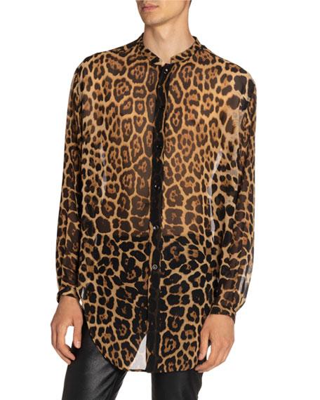 Saint Laurent Men's Leopard Sheer Silk Shirt