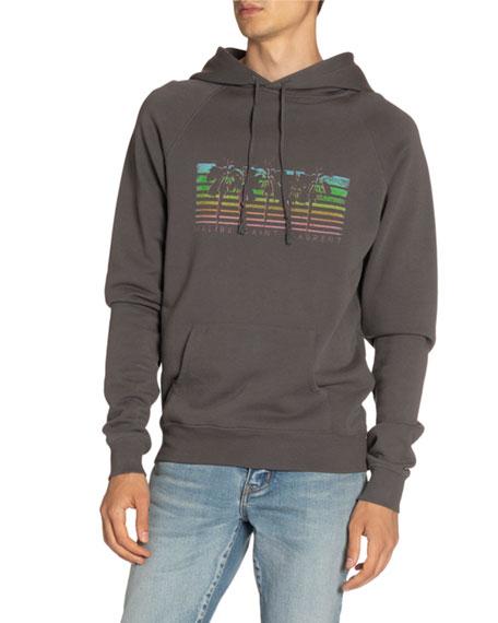 Saint Laurent Men's Rainbow Palms Logo Hoodie Sweatshirt