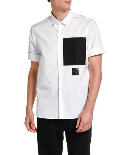 Men's Large Contrast-Pocket Cotton Sport Shirt