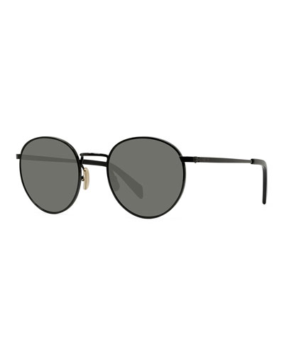 Men's Round Metal Smoke Sunglasses
