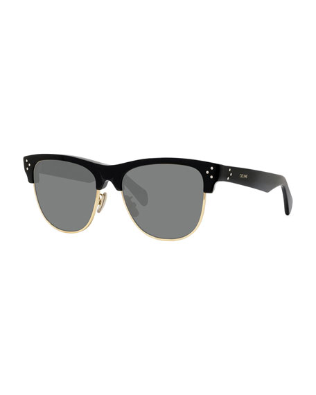 Celine Men's Round Studded Two-Tone Sunglasses