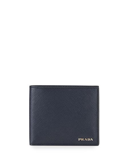 Prada Men's Saffiano Leather Contrast-Logo Wallet