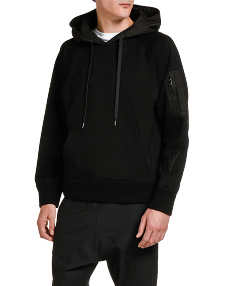 Neil Barrett Men's Pullover Hoodie Sweatshirt with Technical Patches