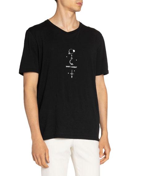 Saint Laurent Men's Quarter Moons Logo T-Shirt