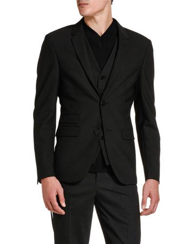 Men's Two-Button Knit Jacket w/ Attached Vest Detail