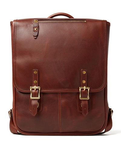 Men's Crosstown Flap-Top Leather Backpack