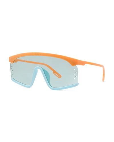 Men's Mask Two-Tone Acetate Shield Sunglasses