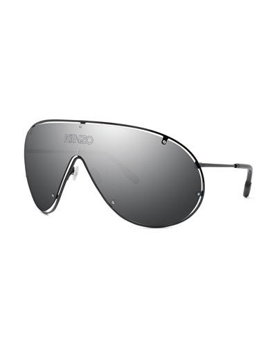 Men's Mask Mirrored Shield Logo Sunglasses