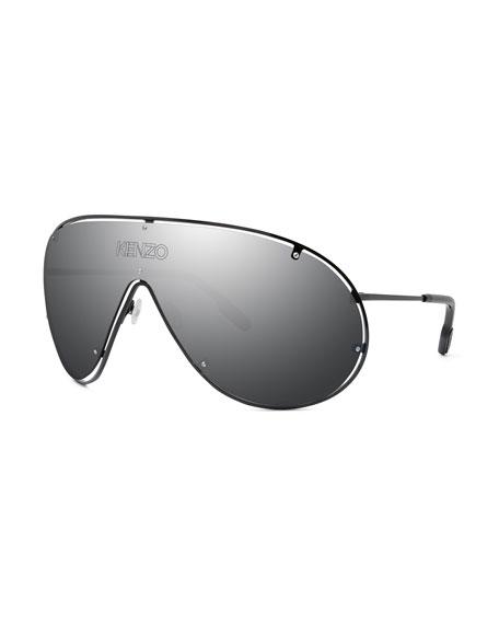 Kenzo Men's Mask Mirrored Shield Logo Sunglasses
