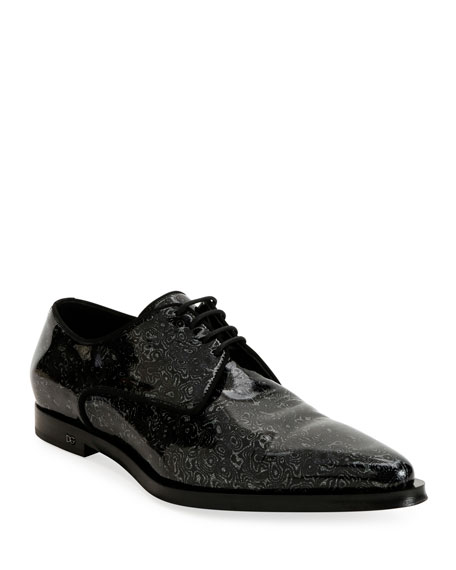 Dolce & Gabbana Men's Printed Patent Leather Point-Toe Derby Shoes