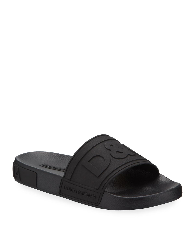 Dolce & Gabbana Men's Logo-embossed Rubber Slide Sandals In Red