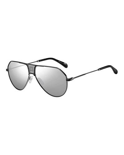 Men's Mirrored Mesh Double-Bridge Aviator Sunglasses