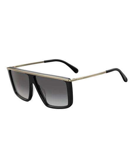 Givenchy Men's Gradient Flat-Top Sunglasses w/ Metal Trim