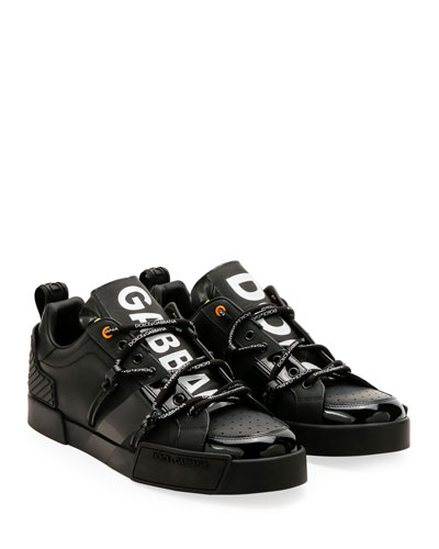 Men's Portofino Leather Logo Sneakers