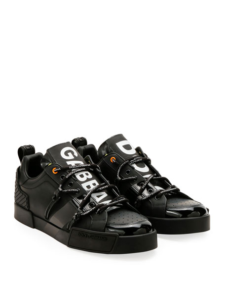 Dolce & Gabbana Men's Portofino Leather Logo Sneakers