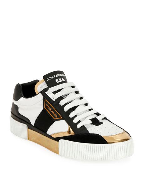 Dolce & Gabbana Men's Millennials Star DNA Leather Sneakers w/ Metallic Trim