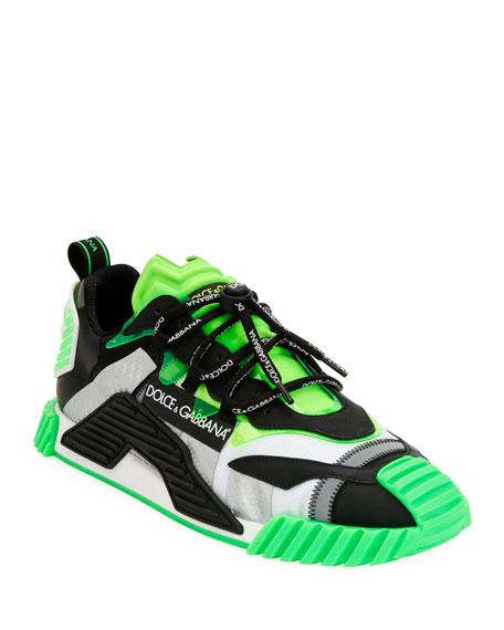Dolce & Gabbana Men's Neon Colorblock Trainer Sneakers