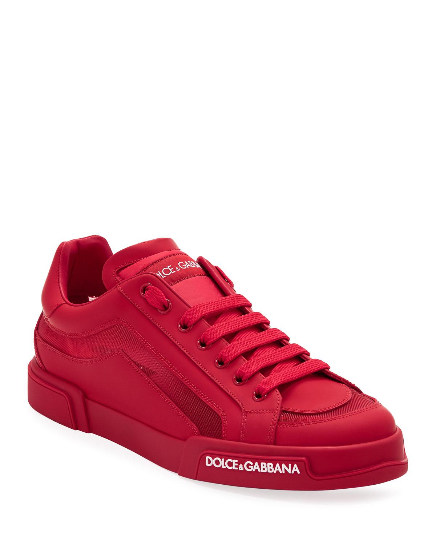 Dolce & Gabbana Men's Portofino Tonal Mesh & Leather Sneakers In Red