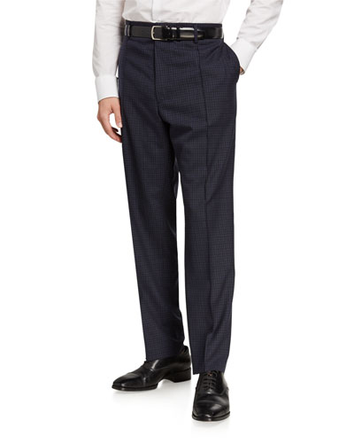 Men's Relaxed-Fit Grid Check Wool Trousers
