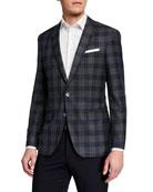 BOSS Men's Windowpane Two-Button Jacket