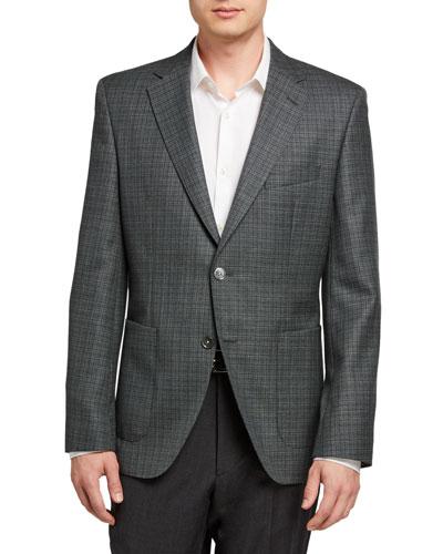 Men's Micro-Plaid Two-Button Jacket